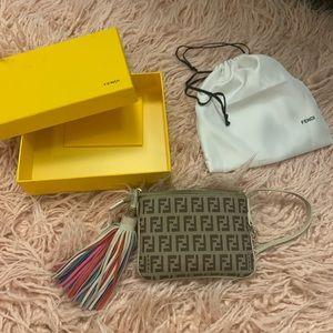 Fendi wristlet wallet pouch - rainbow tassel